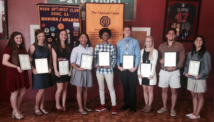 Rome Noon Optimist Club recognize High Schools Student of the Month for September