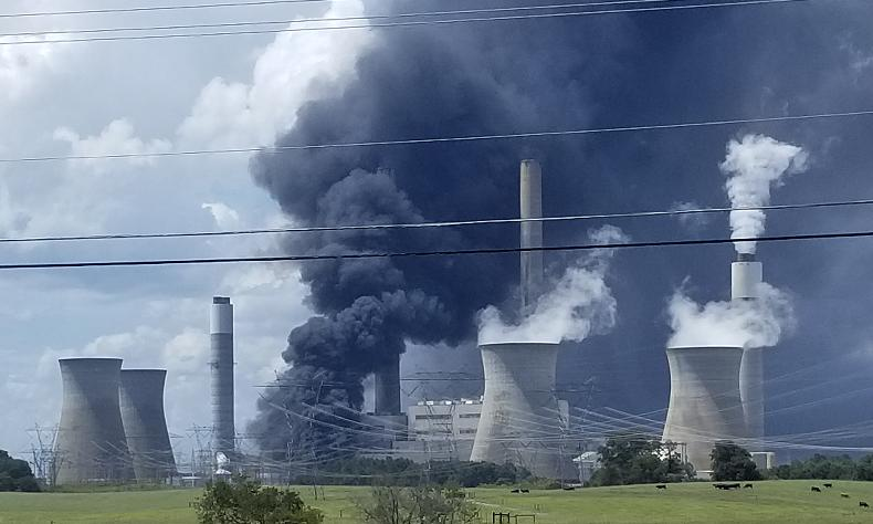 Large Fire Reported at Plant Bowen in Cartersville