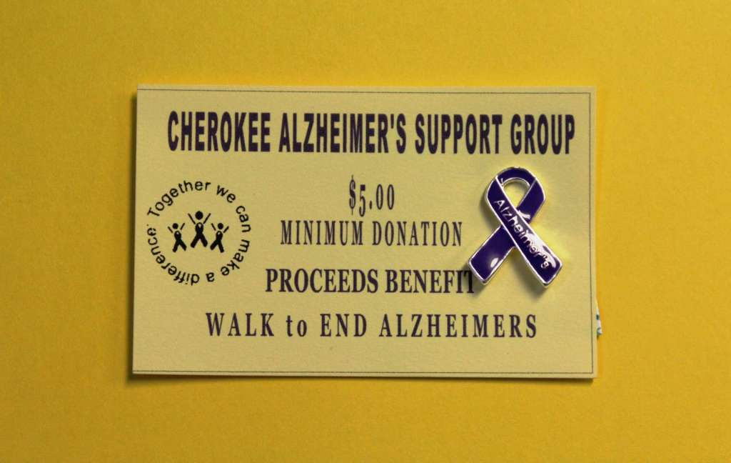 "Cherokee Alzheimer's Support Group Selling Pins to Raise Money for Annual ""Walk to End Alzheimer's"" Event"