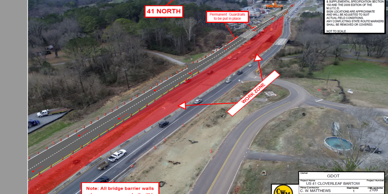 Expect Traffic Shift on US 41 at Bridge Over Pettit Creek in Cartersville
