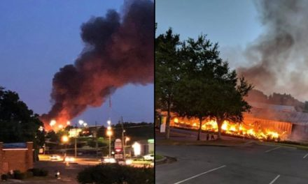 Fire Destroys Building Near Chick Fil A