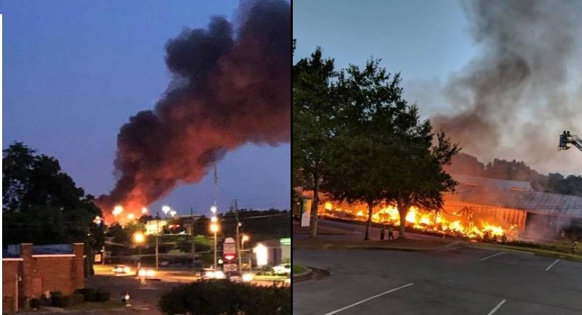 Fire Destroys Building Near Chick Fil A