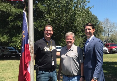 House Majority Whip Trey Kelley and Mr. Alan Dean Present Eastside Elementary School with U.S. and Georgia Flags